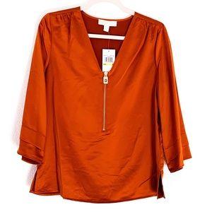 NWT Michael Kors V-neck, Front Zipper Blouse